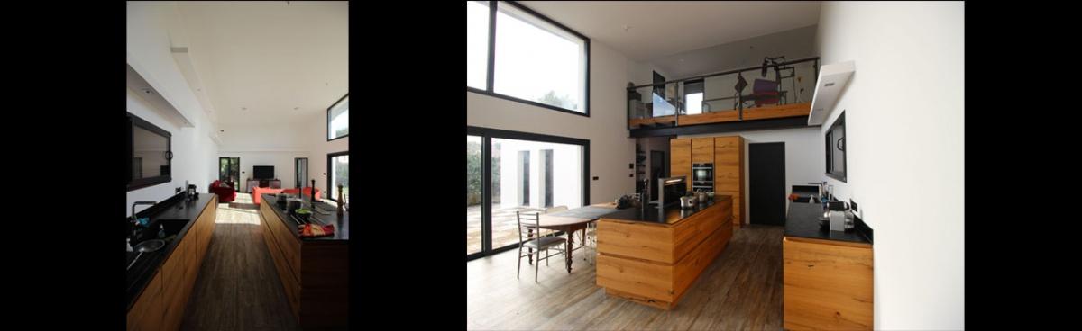 Construction d'une maison contemporaine à toit terrasse et monopente en zinc : maison-contemporaine-toit-terrasse-monopente-zinc-10