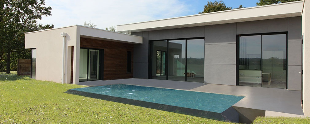 maison contemporaine toits terrasses avec un mix b ton bois composite toulouse une. Black Bedroom Furniture Sets. Home Design Ideas