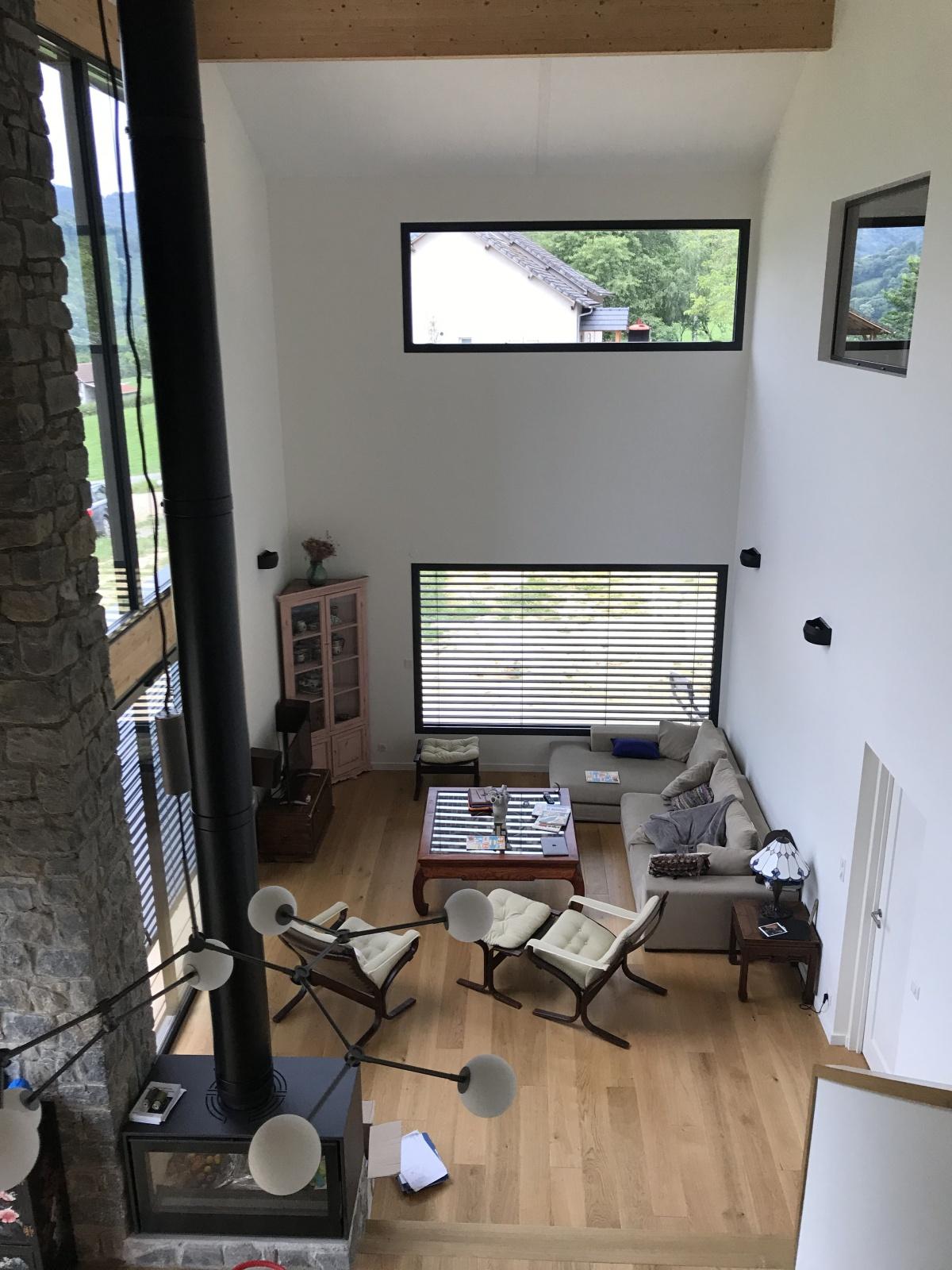 Construction d'une maison individuelle ossature bois BBC : Vue pièce de vie du R+1