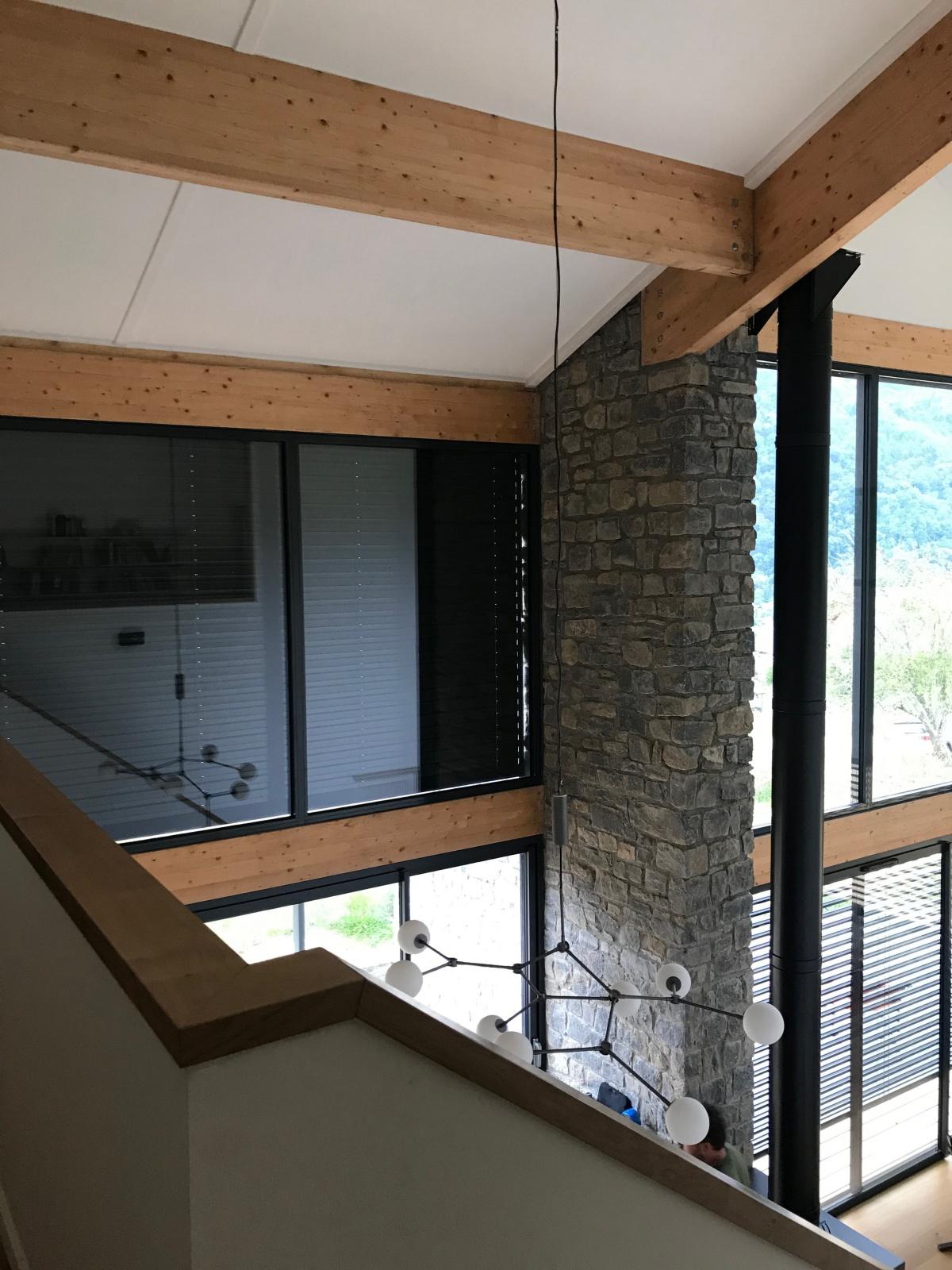 Construction d'une maison individuelle ossature bois BBC : Vue du R+1