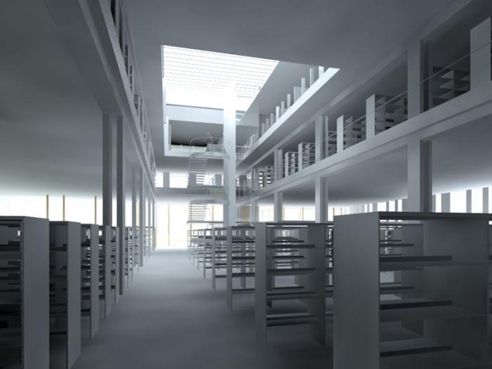 Médiathèque départementale de Labège : perspective intérieure