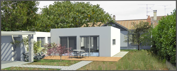Extension et restructuration d 39 une maison des ann es 50 for Maison californienne plan