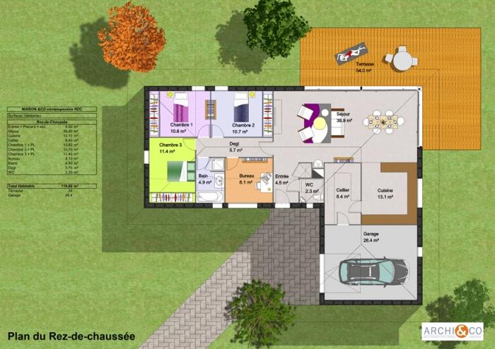 Maison ossature bois plain pied - Plan maison plein pied moderne ...