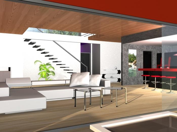 Maison individuelle A : Vue du salon