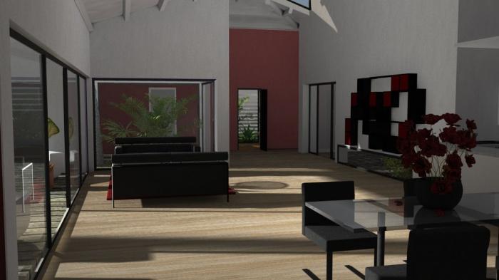Maison individuelle z goyrans une r alisation de atelier sc nario - Maison contemporaine avec patio interieur ...