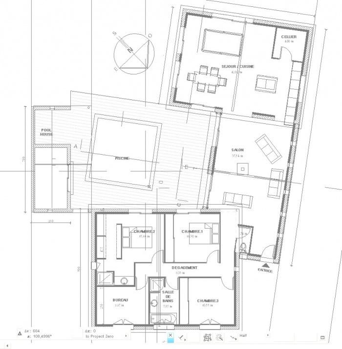 maison contemporaine en U : vue6