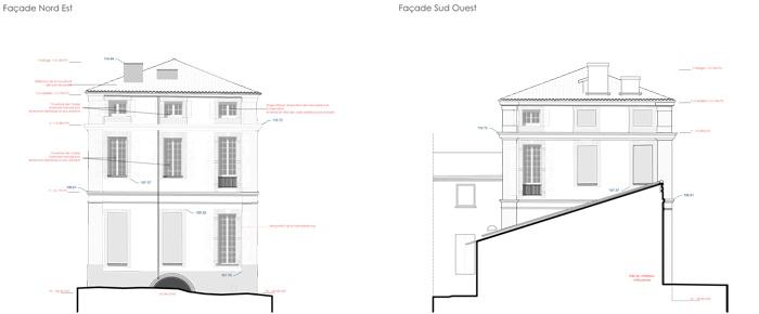 Réhabilitation du Chateau de Drudas : Pignons Nord Est et Sud Ouest