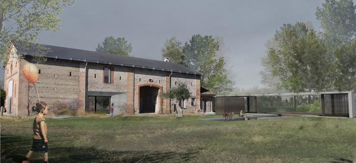 Extension d'une maison au bord d'un lac : Vue depuis l'entrée