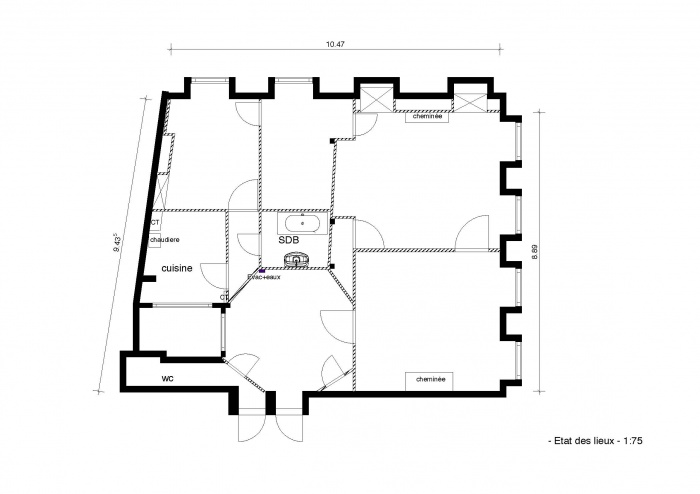réhabilitation appartement 19 ème en  hypercentre : plan état des lieux