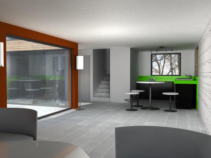 Maison C : Vue du séjour et de la cuisine ouverte