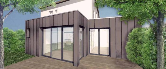 architectes extension bois zinc toulouse. Black Bedroom Furniture Sets. Home Design Ideas