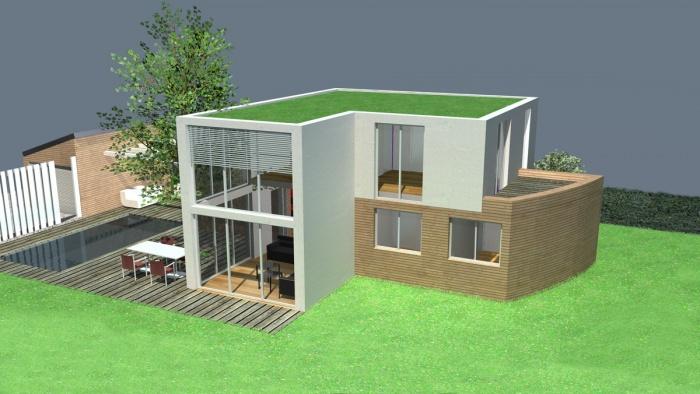Maison mixte bois / maçonnerie et toits végétalisés