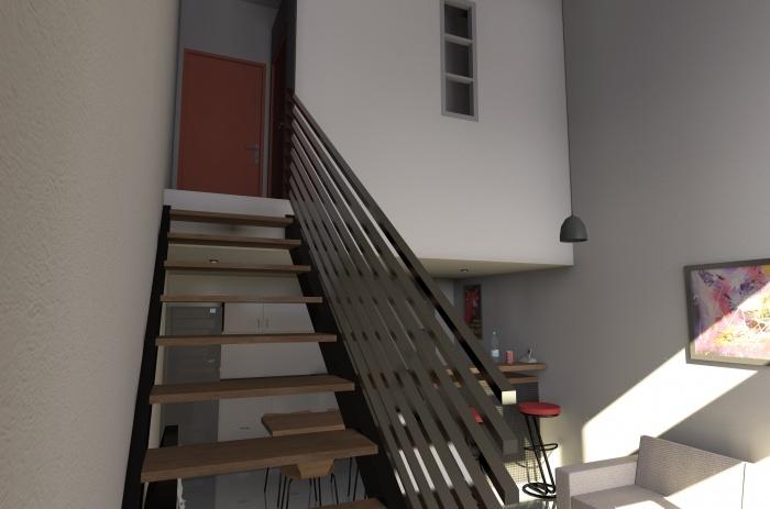 Création de trois appartements dans un hangar : Ambiance intérieure appartement 3