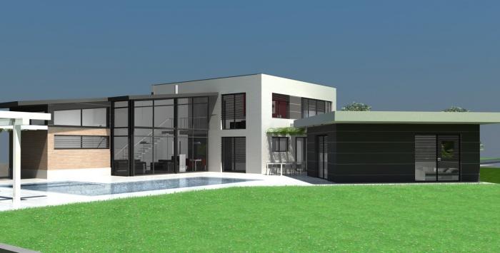 Villa contemporaine RT2012 - Toit terrasse & monopente zinc