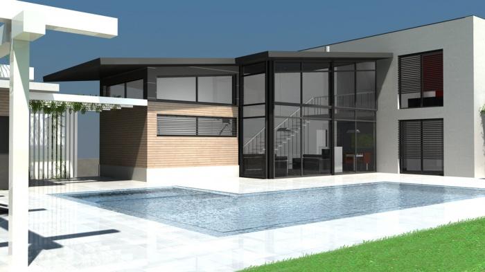 Architectes villa contemporaine rt2012 for Maison moderne avec toit zinc
