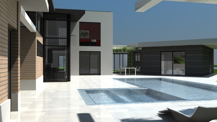 architectes villa contemporaine rt2012 toit terrasse monopente zinc toulouse. Black Bedroom Furniture Sets. Home Design Ideas