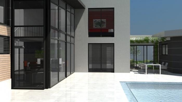 architectes villa contemporaine rt2012 toit terrasse monopente zinc toulouse. Black Bedroom Furniture Sets. Home Design Ideas