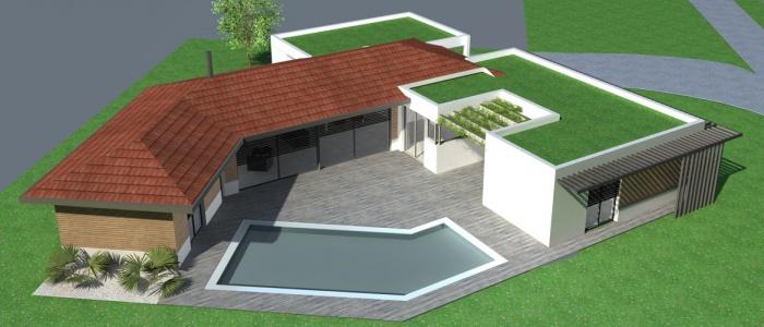 Maison contemporaine rt2012 toit tuiles terrasse - Maison toit plat et tuile ...