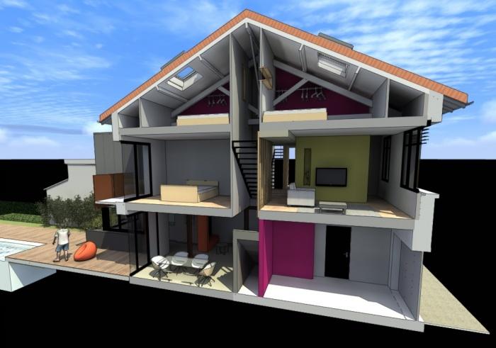 Maison h r novation toulouse toulouse une - Plan coupe facade maison ...