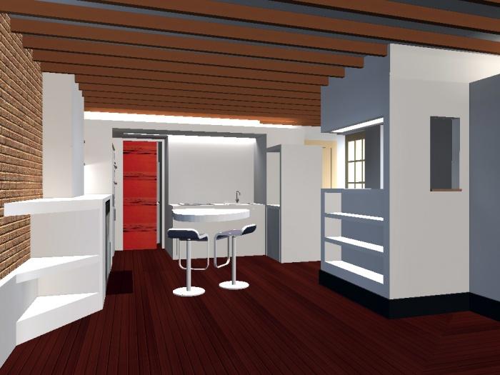 Appartement G : salon / cuisine