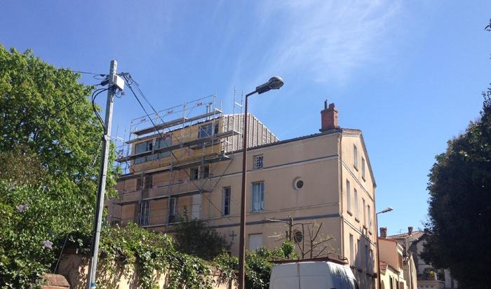 Surélévation d'un immeuble à Toulouse : Voligeage 10.04.14 (1).JPG