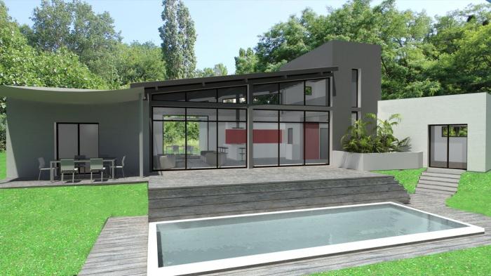 Construction D Une Maison Contemporaine A Toits Terrasse Et Zinc A