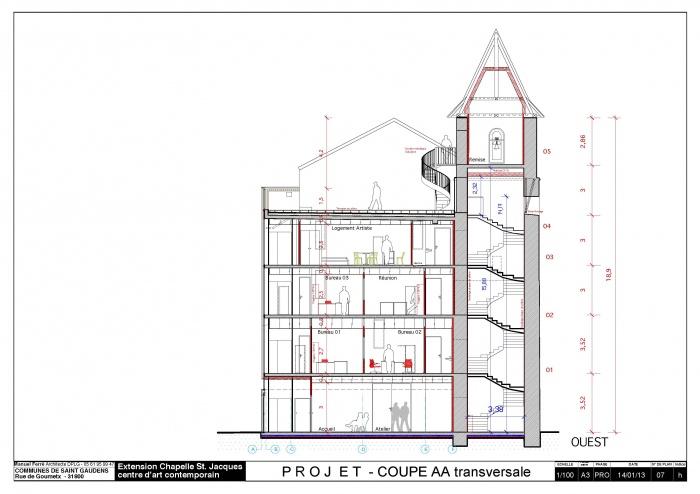 Réhabilitation et extension du centre d'art contemporain La Chapelle St-Jacques : Coupe AA Chapelle pdf