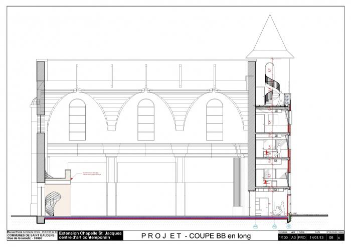 Réhabilitation et extension du centre d'art contemporain La Chapelle St-Jacques : Coupe BB Chapelle pdf