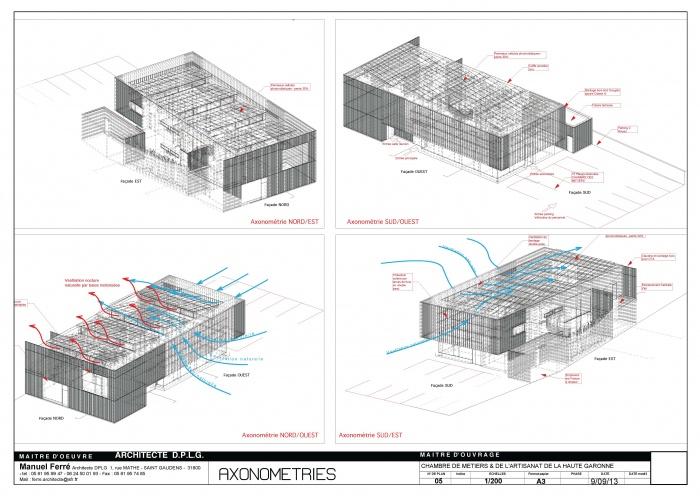 Construction de l'antenne de la Chambre de Métiers et de l'Artisanat Haute Qualité Environnementale : 05ESQ AXONO-2 [05ESQ AXONO]