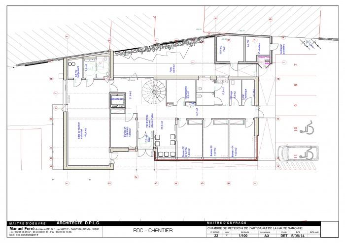 Construction de l'antenne de la Chambre de Métiers et de l'Artisanat Haute Qualité Environnementale : D- 22 RDC 1_100 [DET]
