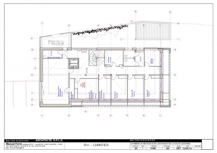 Construction de l'antenne de la Chambre de Métiers et de l'Artisanat Haute Qualité Environnementale : D- 23 R+1 1_100 [DET]