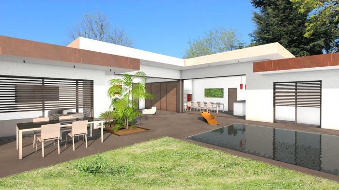 Construction d\'une maison contemporaine à toit terrasse et parement ...