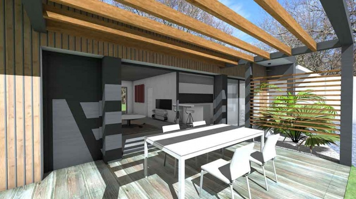 Maison contemporaine d'architecte pour petit budget : maison-contemporaine-economique-architecte-toit-terrasse-bois-3