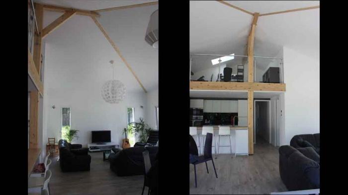 ... Maison Contemporaine Avec Mezzanine Et Charpente Apparente :  Construction Maison Avec Mezzanine  ...