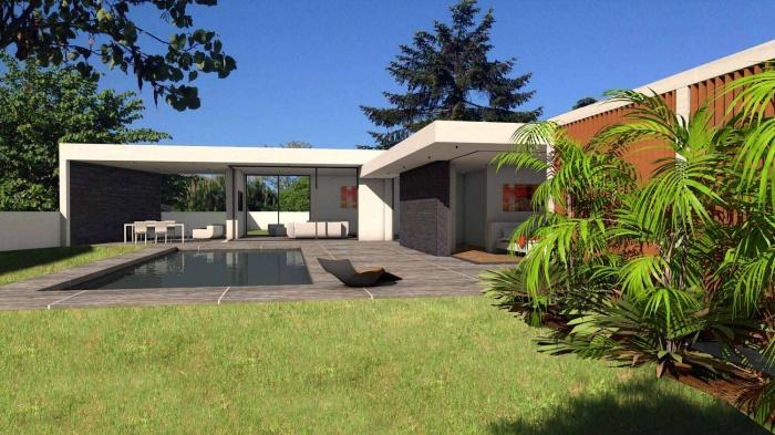 maison contemporaine parement en pierres noires toulouse une r alisation de atelier sc nario. Black Bedroom Furniture Sets. Home Design Ideas