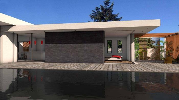 Maison contemporaine à parement en pierres noires : maison-contemporaine-architecte-pierres-noires-baie-galandage-toulouse-7