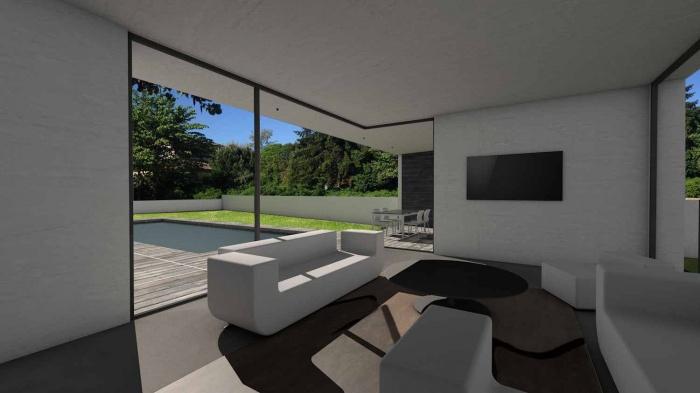 Maison contemporaine à parement en pierres noires : maison-contemporaine-architecte-pierres-noires-baie-galandage-toulouse-13