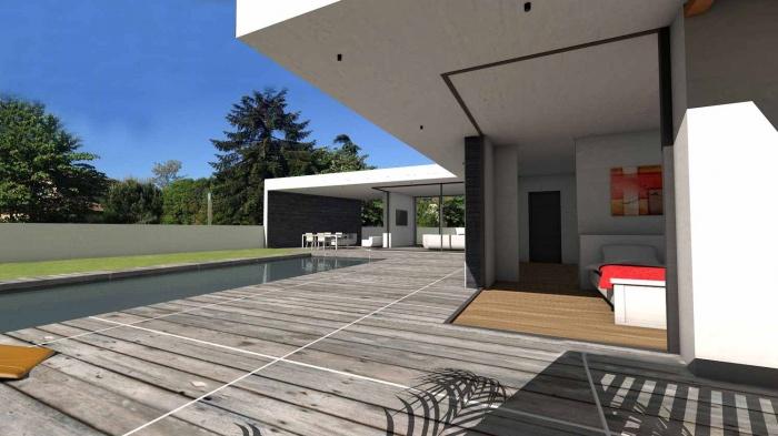 Maison contemporaine à parement en pierres noires : maison-contemporaine-architecte-pierres-noires-baie-galandage-toulouse-16