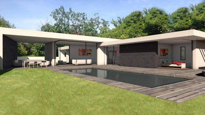 Maison contemporaine à parement en pierres noires : maison-contemporaine-architecte-pierres-noires-baie-galandage-toulouse-1
