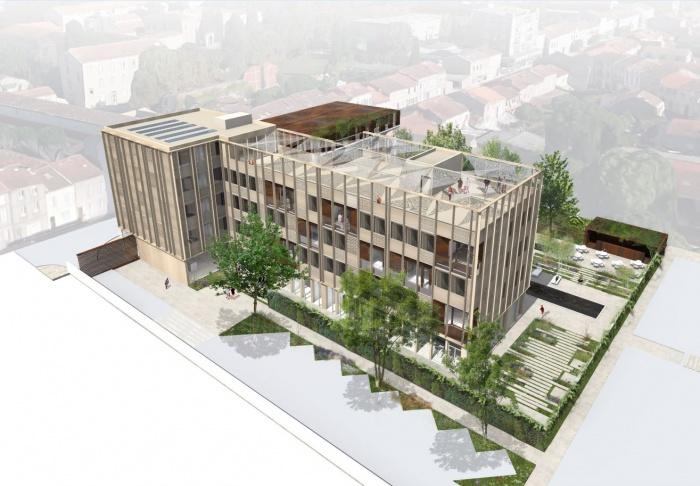 Transformation d'un bâtiment de bureaux en Résidence Hôtelière à Albi : Axono ouest.JPG