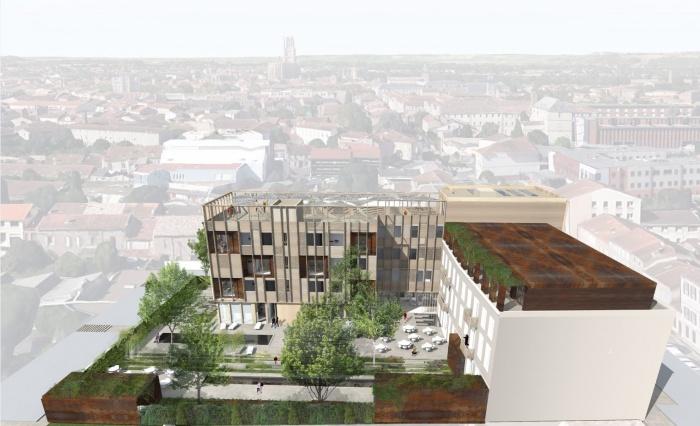 Transformation d'un bâtiment de bureaux en Résidence Hôtelière à Albi : Axono voisin.JPG