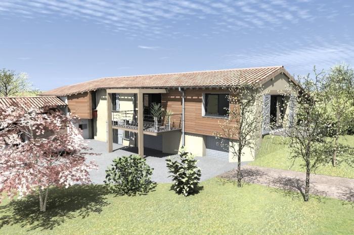 Réaménagement et extension d'une bâtisse : Claudel-PRJT-AXONO_1