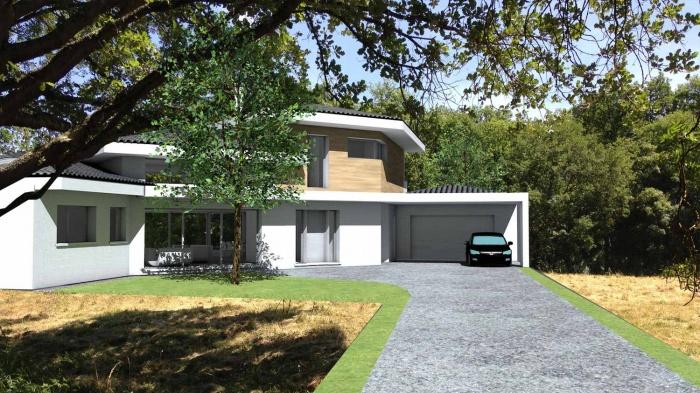 Maison contemporaine tuiles noires et casquettes b ton for Agrandissement maison besoin architecte
