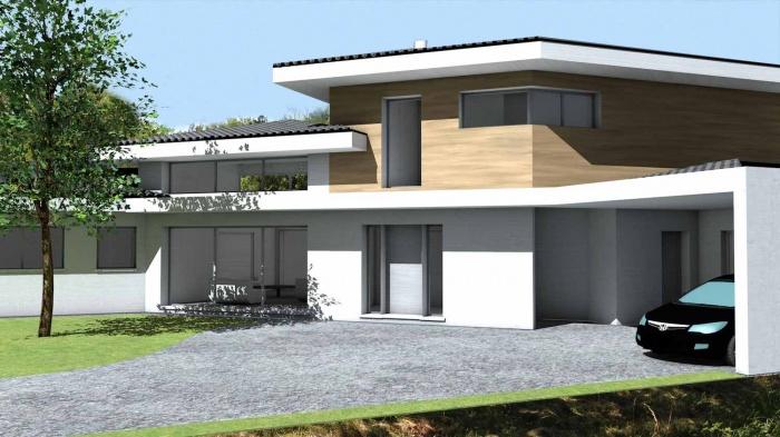 Architectes maison contemporaine tuiles for Architecte toulouse maison contemporaine