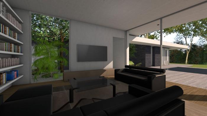 Villa d'architecte contemporaine à patios : villa-exception-maison-architecte-dedans-dehors-pierres-patios-toulouse-4