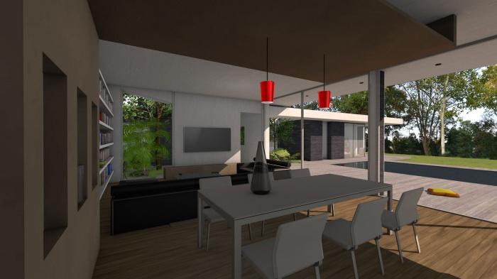 Villa d'architecte contemporaine à patios : villa-exception-maison-architecte-dedans-dehors-pierres-patios-toulouse-5