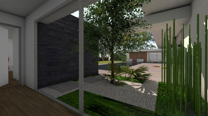 Villa d'architecte contemporaine à patios : villa-exception-maison-architecte-dedans-dehors-pierres-patios-toulouse-7