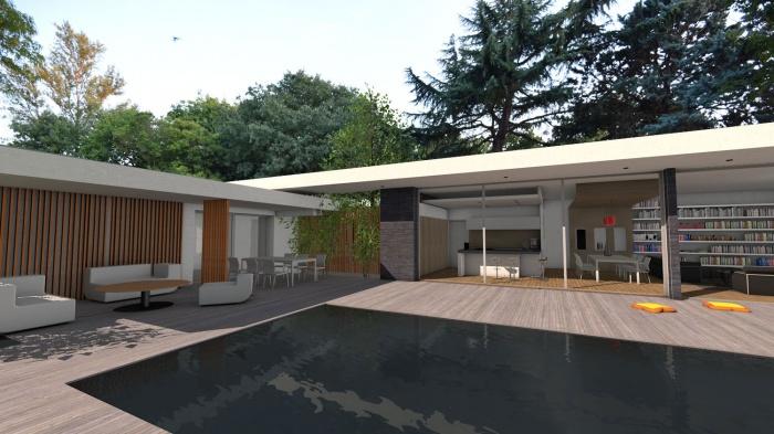 Villa d'architecte contemporaine à patios : villa-exception-maison-architecte-dedans-dehors-pierres-patios-toulouse-9