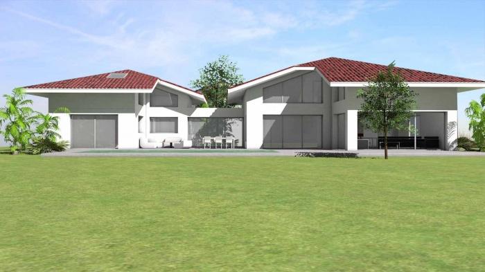 Maison à passerelle vitrée : maison-contemporaine-architecte-fenetre-trapeze-toulouse-1