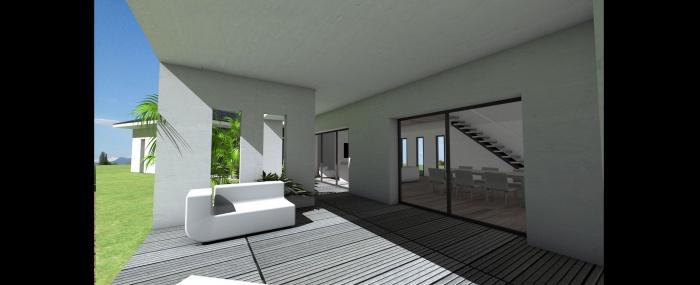 Maison contemporaine à tuiles noires et terrasse couverte à Toulouse ...